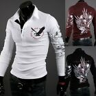 New Men's Eagle Tattoo Graphic Printing Long Sleeve Polo T-Shirt Slim Fit Casual