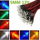 Wholesale Pre-Wired LED 5mm 12V 20CM Water Clear LED Leds Candle Light Colorful