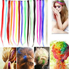 "1pc 20"" Party Colorful Highlights Clip in on Hair Extensions Synthetic 16 Colors"