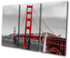 Landmarks Golden Gate Bridge TREBLE CANVAS WALL ART Picture Print VA
