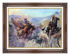 Framed Western Fine Art Print A Mix Up by Charles M Russell Horses Vintage Repro