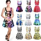 Women Crop Vest Sleeveless Print Midriff Top Cami+Skirt Skater Flared Dress N4U8