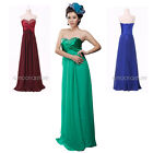 2014 New Chiffon Strapless Long Prom Party Wedding/Evening Bridesmaid Gown Dress