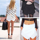 Skort Women Tiered Asymmetric Culottes Invisible Wrap Mini Zipper Skirt Short