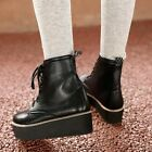 Fashion Lace-up Flat heel paltform Synthetic leather boots lady shoes AU H416