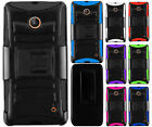 Cricket Nokia Lumia 630 Hybrid Combo Holster KICKSTAND Rubber Case Cover