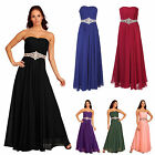Bandeau Chiffon Strapless Diamante Formal Prom Ballgown Evening Dress UK 8 - 20