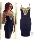 NEW WOMEN CELEBRITY STYLE NAVY/GOLD PATTERNED STRAPPY BODYCON DRESS (SIZES 8-14)