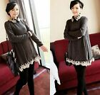 Maternity Womens Blouses Lapel Neck Lace Splice Pregnant Women Casual Tops S NWT