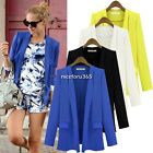 Women's Candy Color Outwear Tops Cardigan Business Blazer Jacket Basic Coat Suit