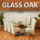 Glass Top Oak Cross Base Dining Table w/ 6 8 Leather Chairs Room Furniture 200cm