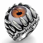Pugster 316L Stainless Steel Orange Evil Eye Lucky Fashion Rings Size7 To Size17