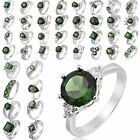 Mixed Style Fashion Green Emerald 18K White Gold Plated U Choose Ring Sz 6