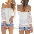 2014 Girls Sexy Lace Off-shoulder Long Sleeve Loose Top Casual T Shirt Blouse