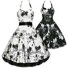 Floral Vintage Style Party Prom Dress Black White Size 8 - 26