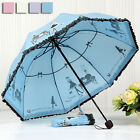 Women Lady Girl Umbrella Rain / sunny Day Parasol Free Shipping 4 folding T171