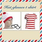 RED & WHITE STRIPED WALLY T SHIRT HAT GLASSES WALLY Fun  FANCY DRESS WHERES NEW