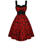 Hell Bunny Arcadia Red Black Rose Skull Floral 50s Vintage Party Prom Dress