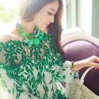 New Fashion Women Vintage Long Sleeve Tops Lace Floral Shirt Chiffon Blouse 2-10