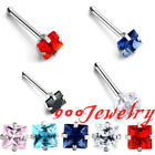 20ga Stainless Steel CZ Square Crystal 3mm Nose Ring Bar Stud Barbell Piercing