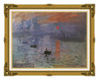 Framed Art Canvas Giclee Impression Sunrise Claude Monet Painting Reproduction