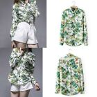 New Fashion Womens Forest Plant Print Blouse Long Sleeve Tops Shirt Casual Loose