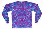 Adult Long Sleeve TIE DYE Purple Blotter art T Shirt plus sizes 2X 3X 4X hippie