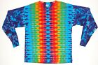 Adult Long Sleeve TIE DYE Rainbow DNA T Shirt plus sizes 2X 3X 4X grateful dead