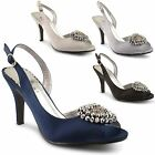 New Ladies High Heel Cut Away Side Beaded Satin Ankle Strap Sandals UK Size 3-8