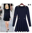 Womens Korean Mini Skirt Dress High Waist Party Dress Clubwear Full Sleeve  D874