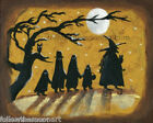 Trick or Treat Halloween Night Witch Ghost Full Moon Owl Wall Art Print