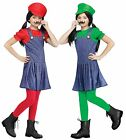 Pretty Plumber Mario Luigi Brothers Child Girls Cute Halloween Costume Dress