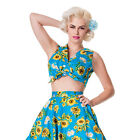 Hell Bunny Sunrise Blue Sunflower Rockabilly Vintage 50S Summer Cropped Tie Top