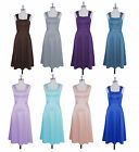 Formal Dress Wide Straps Tea Length Evening Gown Bridesmaid Wedding Party