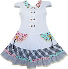 Girls Dress White Cute Colorful Collar Back School Uniform 6-14 New