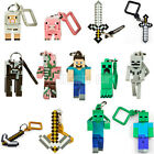 MINECRAFT 3D HANGERS BACK PACK CLIPS KEYRING KEYCHAIN BELT CLIP 3 INCH NEW