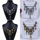Fashion Punk Rock Vintage Crystal Skull Heads Pendant Chain Bib Necklace Jewelry