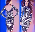 Chic Ladies S M L Sizes Hot Slim Flower Plaid Pattern Bandage Clubwear Dress - S