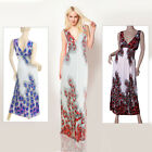 New Womens Sleeveless V Neck Peacock Pencil Party Maxi Beach Size Sz Long Dress