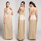Donna Bella Sleeveless V Neck Ruched Evening Party Empire Maxi Dress Bridesmaid