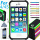 For iPhone 4S / 4 Black Rugged Rubber Matte Hard Case Cover w/ Screen Protect