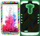 For LG G3 - Hybrid Dual Layer Grip Cover Case Colorful Waves w/ Glow in the Dark