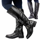 Ladies Womens Knee Calf High Chunky Buckle Gusset Biker Riding Boots Shoes Size