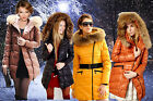 New Trendy Women's Down Feather Parkas Jacket Coat 100% Raccoon Fur Neck 4 Color