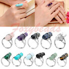 LOT Adjustable Crystal Hexagon Healing Point Chakra Gemstone Beads Finger Ring
