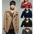 Sz M-2XL Men Peacoat Wool Blend Double Breasted Coat Winter Jacket Overcoat GK