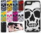 For Apple iPhone 6 / 6s SKULL Hard Hybrid Dual Layer Rubber Phone Case Cover