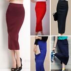 Fashion Womens Ladies Elastic Waist Band Long Plain Pencil Midi Tube Skirt Dress
