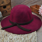 Girl's Vintage Soft  Wide Brim Wool Felt Bowler Fedora Hat Floppy Cloche YH0020