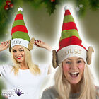 *ADULT MENS LADIES RED AND GREEN ELF FANCY DRESS COSTUME HAT WITH ATTACHED EARS*